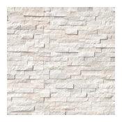 """12""""x12"""" European Arctic White Stacked Stone Panels, Set of 50"""