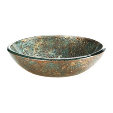 Reflex Vessel Sink, Blue And Copper Storm 18""