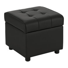 EveryRoom Elvia Square Storage Ottoman in Black by DHP