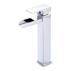 """Waterloo 12"""" Single Handle Square Waterfall Vessel Faucet, Chrome Finish"""
