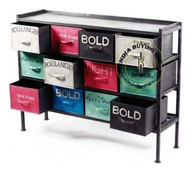 Industrial style painted drawer furniture from India buying Inc.