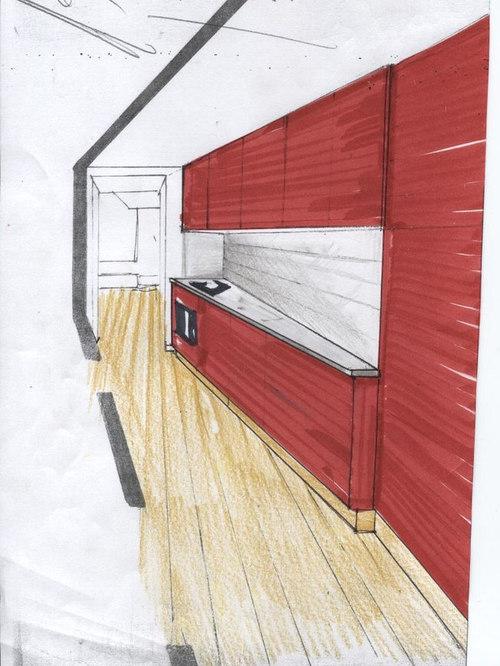cucina laccata rossa