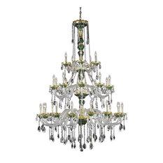 Elegant Lighting Spiral 30-Light Chandelier, Green/Elegant Cut