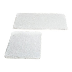 Lavish Home 2 Piece Memory Foam Shag Bath Mat, White