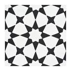 "8""x8"" Medina Handmade Cement Tile, White and Black, Set of 12"