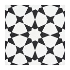 "8""x8"" Medina Handmade Cement Tile, White and Black, Set of 12"