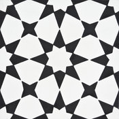"8""x8"" Medina Handmade Cement Tile, White/Black, Set of 12"
