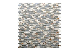 """12""""x12"""" Concrete Gray Glass Tile and Mother of Pearl Tile, Full Sheet"""