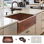 """Fossil Blu - Ultra Thick 12-Gauge Luxury 30"""" Copper Farmhouse Sink, Includes Grid and Drain - 12-GAUGE COPPER: With nearly 50 pounds of 99% pure copper, this 12-gauge sink is the thickest & strongest 30"""" copper sink available on the market."""