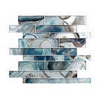 "11.75""x11.75"" Picasso Mosaic Tile, Crystal Lagoon"
