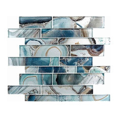 "Strictly Mosaic - 11.75""x11.75"" Picasso Mosaic Tile, Crystal Lagoon - Mosaic Tile"