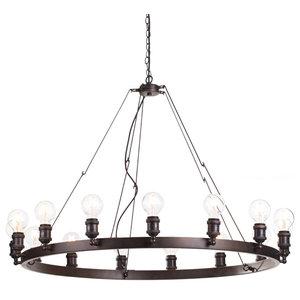Cartwheel Style Ceiling Pendant Light, Rust, 15 Light