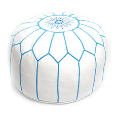 Moroccan Leather Pouf, White With Turquoise Stitching