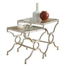 Modern Style Silver 2 Piece Set Nesting Table Set With Glass Furniture I3321