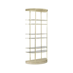 Up Up And Away Gold Half Moon Etagere With Glass Shelves