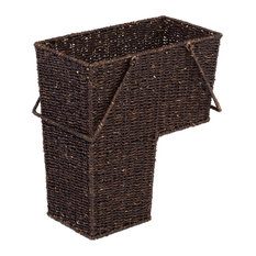 Wicker Storage Stair Basket, Handles Brown