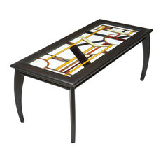 DecoCraftFurniture   Art Deco Glass Top Coffee Table   Coffee Tables