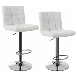 Modern Set of 2 Bar Stools Upholstered, Faux Leather, Chrome Plated Base, White