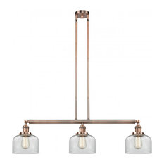Innovations Large Bell 3-Light Dimmable LED Island Light, Antique Copper