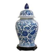 18 in. High Blue & White Floral Porcelain Temple Jar