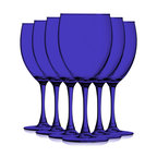 Cobalt Blue Colored Nuance Wine Glasses, 10 oz. Set of 6