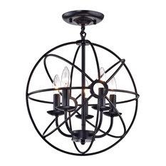 Dover 5-Light Oil Rubbed Bronze Sphere Cage Globe Flush Mount Chandelier