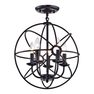 Dover 5-Light Oil Rubbed Bronze Sphere Cage Globe Flush Mount Chandelier
