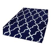 Trellis Shag Design Indoor Cotton Area Rug, Navy Blue/White, 8'x10'