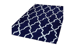 Trellis Shag Design Indoor Cotton Area Rug, Navy Blue/White, 8'x10'