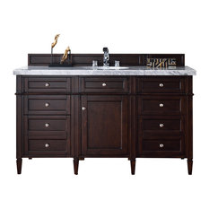 Brittany 60-inch Single Vanity Burnished Mahogany Base Cabinet Only