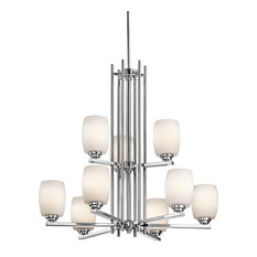 Kichler Eileen Chandelier 9-Light, Chrome, Satin Etched Cased Opal