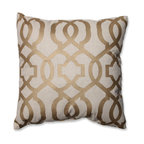 Geometric Throw Pillow, Gold and Linen