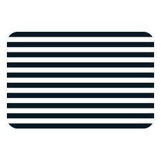 Vinyl Plastic Placemats Reversible Black Stripe Set of 4