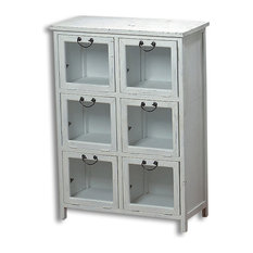 The Farmers Market Vintage Style Glass Front Apothecary Cabinet