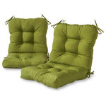 Greendale Home Fashions - Outdoor Seat and Back Chair Cushions, Set of 2, Summerside Green - This Greendale Home Fashions Outdoor Seat/Back Combination Chair Cushion Set is the perfect complement to your outdoor furniture. Each cushion measures 42 x 21 x 5 inches, and comes with four string ties which allow for a secure attachment to outdoor chairs. Eight circle tacks give the cushion dimension and a full appearance, while preventing cushion fill from shifting and increasing durability. The cushion's 100% polyester, UV coated fabric is fade, stain and water resistant. The cushion's poly fiber fill is made from 100% recycled, post-consumer plastic bottles, and overstuffed for added comfort, strength and durability.  A variety of colors and prints are available to enhance your outdoor decor.