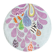 Lil Mo Hipster Polyester, Hand-Tufted Rug, Funky, 5'x5' Round