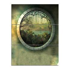 """Green Fantasy Landscape With Frame"" Art Photo Canvas Print, 3 Panels, 28""x36"""