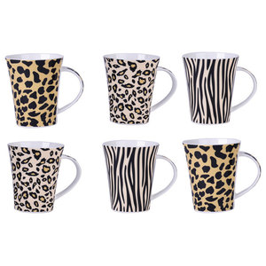 Safari Coffee Mugs, Set of 6