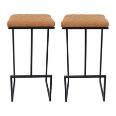 Quincy Quilted Stitched Leather Bar Stools, Metal Frame Set of 2, Light Brown
