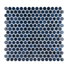SomerTile Hudson Penny Round Porcelain Floor and Wall Mosaic Tile, Midnight