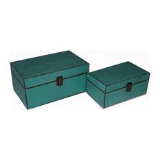 Wooden Keepsake Boxes, Teal, Set of 2