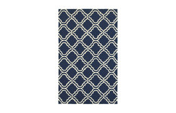 Tommy Bahama Atrium Hand Hooked Indoor-Outdoor Trellis Panel Blue/Ivory Rug