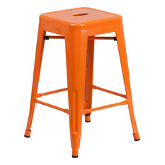 Flash Furniture 24 High Backless Orange Metal Indoor Outdoor Counter H Stool