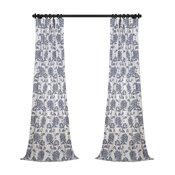 "Duchess Blue Printed Cotton Twill Curtain Single Panel, 50""x96"""