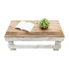 Rustic Reclaimed Barnwood Coffee Table, White/Natural, Coffee Table