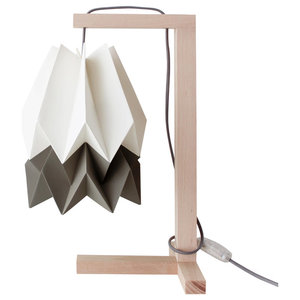 Stripe Polar White Paper Table Lamp With Textile Cable, Alpine Grey
