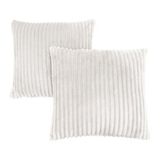 "18""x18"" Ultra Soft Ribbed-Style Pillow, Ivory, Set of 2"