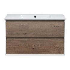 Taylor Light Wood Floating Bathroom Vanity, 35""