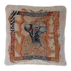 Elephant Tapestry Pillow With Cordedge Fringe, 17x17 Cordedge