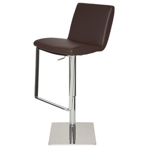 Matteo Adjustable Bar Stool Modern Contemporary Barstool Brown Leather Contemporary Bar Stools And Counter Stools By Mod Space Furniture